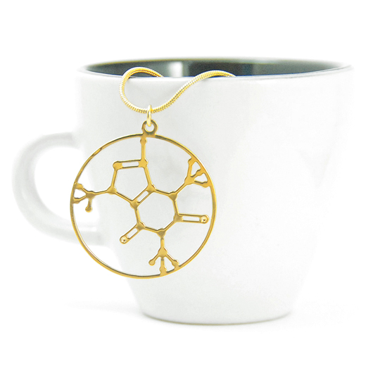 Caffeine molecule necklace in gold by Delftia Science Jewelry